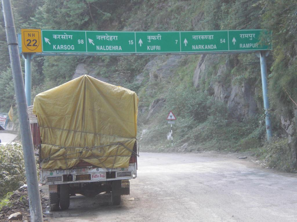 Distances on NH22 (between Shimla and Theog)