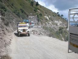 Landslide deteriorating the road