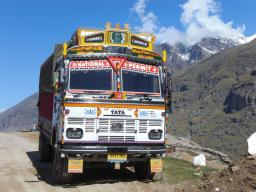 Trucks in India are painted in lively colors